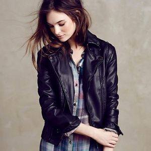 Anthropologie Jakett Vegan Leather Moto Jacket
